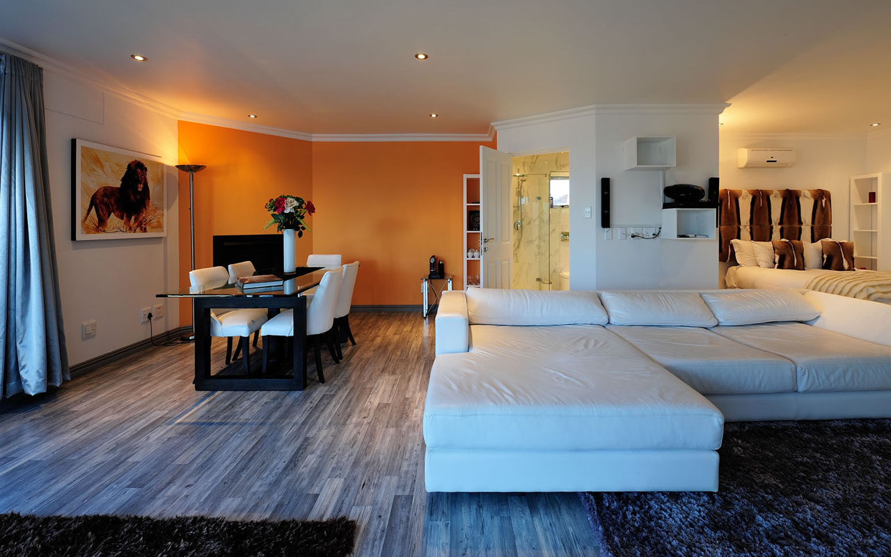 <h2>the master suite</h2>The Master Suite is luxurious and provides uninterrupted views over the bay. <br> The bedroom is stylish and very spacious with panoramic windows, elegant furniture and African arts. <br>  There is a king-size bed with high quality mattress, two lounge chairs with a coffee table, <br> an executive desk and a Full HD 50' Plasma screen with Blu Ray DVD player and satellite TV.